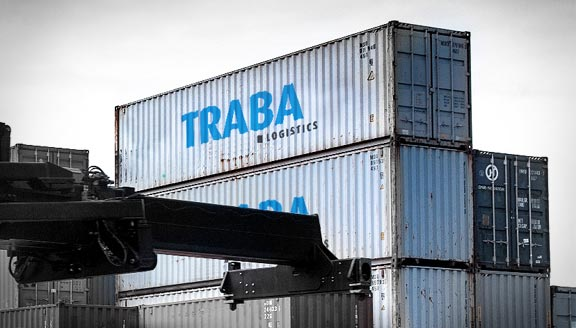Traba Logistics containers being lifted by crane